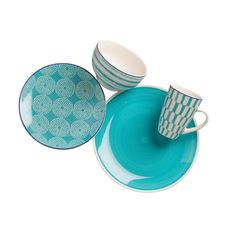 Bring a dynamic look to your dining table with the Simpatico Dinnerware Set from Euro Ceramica. Dishwasher safe, this colorful set features a mix of solid and patterns to create a bold statement on your dining table. Yellow Dinnerware, Dinnerware Sets For 12, Square Dinnerware Set, Dinnerware Ideas, Earthenware, Stoneware, Piece Euro, Breakfast Nook Table, Blue Dinner Plates