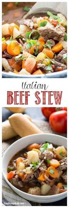 Hearty, delicious, and easy, this Italian Beef Stew is the perfect comfort food, and is made in the slow cooker! yum! - Eazy Peazy Mealz