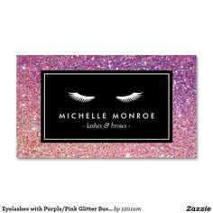 Eyelashes with Purple/Pink Glitter Business Card Template for Lash Extensions - Ready to Personalize & Make Yours!