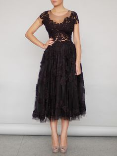 KNITTED LACE AND TULLE MIDI DRESS