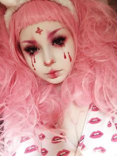 🍓 on - Make up - Punk Makeup Inspo, Makeup Art, Makeup Inspiration, Beauty Makeup, Hair Makeup, Anime Makeup, Hair Beauty, Kawaii Makeup, Cute Makeup