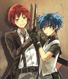 Assassination classroom - Karma (rouge) et Nagisa (bleu) les deux meilleurs en assassinat