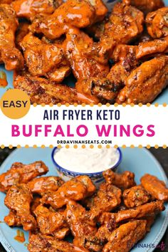 A quick recipe for Air Fryer Keto Buffalo Wings and blue cheese dressing that is homemade, low carb and keto-friendly. The perfect recipe for those wanting an easy weeknight meal, chicken dinner, keto appetizer or recipe for a crowd. Includes tips to make the buffalo chicken wings in the oven. Also adds some ghost pepper spice, inspired by Buffalo Wild Wings #chickenwings #buffalowings #airfryer #easy #recipe #ketodietrecipes