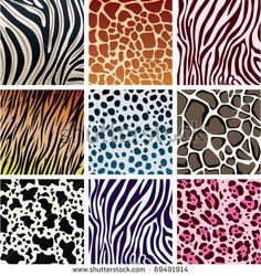 vector animal skin textures of tiger, zebra, giraffe, leopard, cow and cheetah