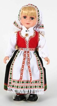 Norwegian doll: Aust Agder from Norwegian Dolls 12 inches Girl Doll Clothes, Doll Clothes Patterns, Doll Patterns, Clothing Patterns, Folk Costume, Costumes, Polish Clothing, Kokeshi Dolls, Dollhouse Dolls