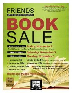 Friends of the Richmond Public Library Book Sale: November 2, 3 & 5, 2012