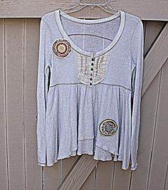 Women's Upcycled Boho Top Cream Shirt Eco by AmadiSloanDesigns