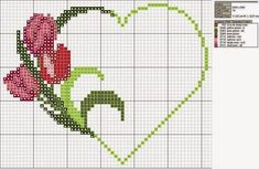 free cross-stitch heart with tulips chart . no color chart available, just use pattern chart as your color guide. or choose your own colors. Wedding Cross Stitch, Cross Stitch Heart, Cross Stitch Flowers, Embroidery Hearts, Cross Stitch Embroidery, Embroidery Patterns, Cross Stitch Designs, Cross Stitch Patterns, Broderie Simple