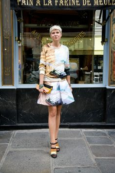 Elisa Nalin wearing Sea Gauge Sweater and Skirt from the Mary Katrantzou Resort 2014 collection