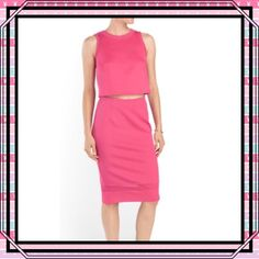 """🌺HOST PICK🌺Pencil Skirt with Crop Top by Spence This gorgeous two piece garment has a back  hook keyhole closure, mesh inserts and is made of poly/spandex which gives it a little stretch. Features jewel neck and sleeveless crop top and approximately 43"""" pull on pencil skirt. Beautiful dark pink color in a size 8. NWT. Spense Skirts Mini"""