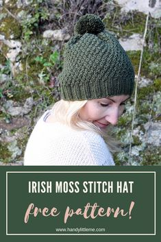 Make a textured hat with this free knitting pattern. The Irish moss stitch pattern is great for any advanced beginners. Take a look at this hat pattern and print it out today to get started! hats for women free Irish Moss Stitch Hat Pattern Easy Knit Hat, Knitted Hats, How To Knit A Hat, Knitted Hat Patterns, Knit Hat Pattern Easy, Kimono Pattern, Scarf Patterns, Doll Patterns, Sewing Patterns