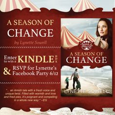 """A Season of Change"" by Lynette Sowell is receiving glowing reviews! Enter to win a Kindle HDX and RSVP for the June 12th Facebook author chat party. Click to learn more."