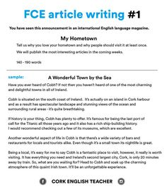 First Certificate Exam - FCE article writing