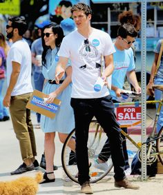 Daniel Sharman hits the streets of LA to get people to register for the upcoming presidential election and to support Bernie Sanders on May 16, 2016