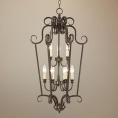 """Traditional Curves 17"""" Wide Iron Foyer Pendant Light at Lamps Plus $299"""