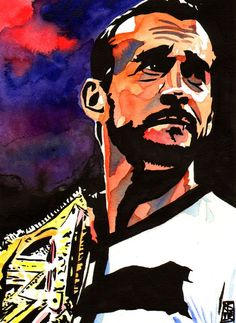 "CM Punk l Ink and watercolor on 9"" x 12"" watercolor paper l #WWE:"
