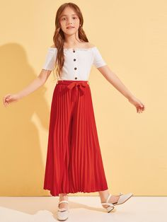 Girls Self Belted Pleated Wide Leg Pants – kidenhome Preteen Girls Fashion, Girls Fashion Clothes, Teen Fashion Outfits, Girl Fashion, Fashion Dresses, Frocks For Girls, Little Girl Dresses, Girls Dresses, Cute Girl Outfits