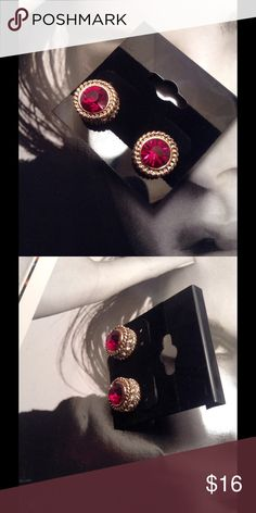 Red Rhinestone Studs These gorgeous studs feature red rhinestone with clear tiny rhinestones set on gold tone base. Great quality jewelry. (This closet does not trade or use PayPal) Son Paises Jewelry Earrings