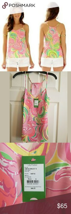 NWT Lilly Pulitzer Dusk Top in All Nighter Brand new Lilly Pulitzer racerback camisole in the All Nighter print. Very cute! Lilly Pulitzer Tops