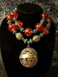 Vintage Chinese Incense Burner Statement Necklace Turquoise Tibetan Amber Beewax