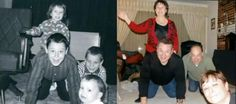 Awesome family idea and memento! Take a photo from your childhood and re-create that same photo decades later :-) brings back a lot of good memories for all Photo Recreation, Bring It On, Take That, Childhood Photos, New Years Eve Party, Best Memories, How To Take Photos, Nostalgia, Hair Styles