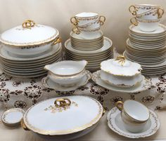 67 Piece GDA Haviland Limoges China Set, Service for 8 plus 5 Serving Dishes