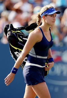 Eugenie Bouchard leaving the court