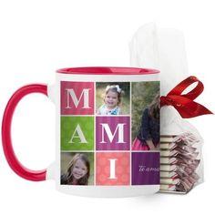 Mami Mug, Red, with Ghirardelli Peppermint Bark, 11 oz, Purple