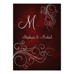 Elegant Red Silver Monogram Wedding Invitation by Sand Creek Ventures. Sold the RSVP cards, too!