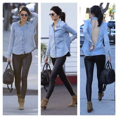 Kendall Jenner- street style in leather trousers and a jean shirt