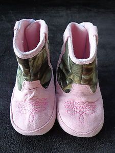Pink baby real tree camo cowboy boots