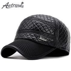 2017 New Winter PU Leather Baseball Cap Men Warm Baseball Hats with Ear Flaps Dad Hat Z-5928