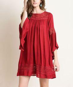 3535c8da78 Burgundy Crochet Lace Bell-Sleeve Shift Dress Crotchet