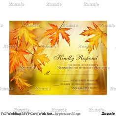 Fall Wedding RSVP Card With Autumn Leaves