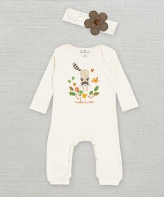 Look at this Truffles Ruffles Ivory 'Woodland Critter' Playsuit & Floral Headband - Infant on #zulily today!