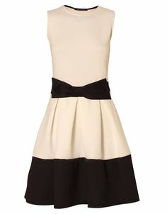 CONTRAST PANELED OFF WHITE SKATER DRESS WITH BOW DETAIL  £ 9.95