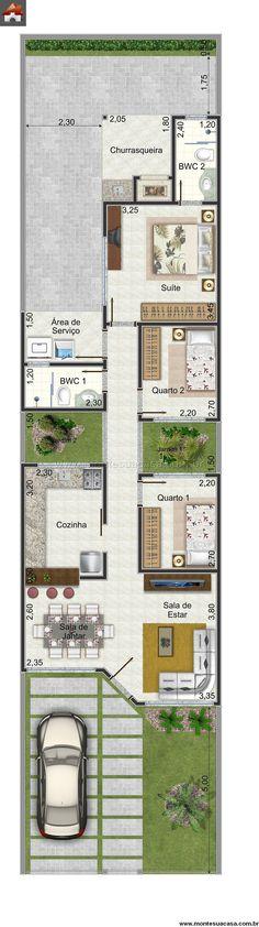 Planta casa com churrasqueira Duplex House Plans, Modern House Plans, Small House Plans, House Floor Plans, Layouts Casa, House Layouts, Narrow House, House Blueprints, Sims House