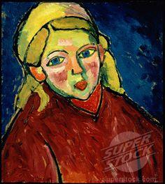 Stock Photo #1100-296, Child With Blue Eyes (Kind Mit Blauen Augen) 1912    Alexej von Jawlensky (1867-1941/Russian)   Oil on board