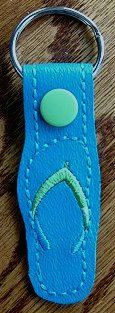 Snap Tab Key Fob - Flip Flop Teal with Green Stitching by ghostwalk on Etsy --  $5.00 plus shipping. Be sure to check out my other Flip Flop snap tabs. More colors available