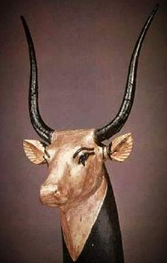 Gilded wooden head of a bull, part of the treasures found with Tutankhamun
