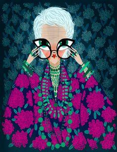 Iris Apfel fashion illustration