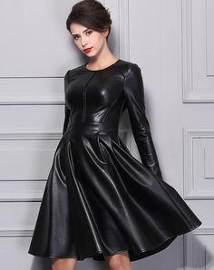 #AdoreWe VIPme (VIPSHOP Global) Womens - BAOYAN - Black Crewneck Cut-out PU Midi Skater Dress - AdoreWe.com