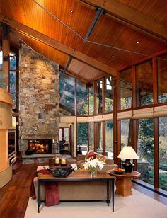 1 straight 1 sloping roof with fireplace -better on straight wall