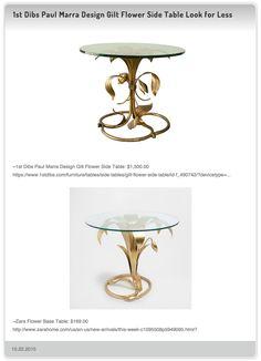 1st Dibs Paul Marra Design Gilt Flower Side Table $1,500.00 vs Zara Flower Base Table $169.00