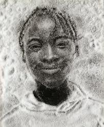 Vik Muniz. So talented. Portraits of Caribbean  children created using white sugar on a black background