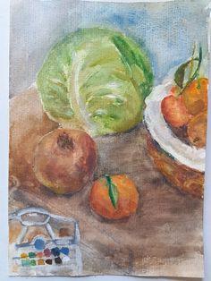 νεκρή φύση  με λάχανο ρόδι και μανταρίνια(ακουαρέλλα) Painting, Painting Art, Paintings, Painted Canvas, Drawings