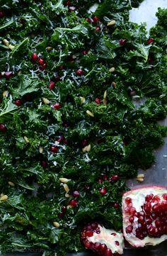 Massaged Kale Salad with Parmesan, Pine Nuts and Pomegranate *Vegan options. | @tasteLUVnourish