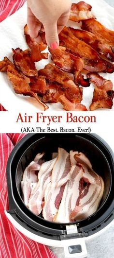 I will show you exactly how to cook bacon in your air fryer. You'll never make i. I will show you exactly how to cook bacon in your air fryer. You'll never make it any other way again. SO delicious and fuss free. Air Fryer Recipes Breakfast, Air Fryer Dinner Recipes, Air Fryer Oven Recipes, Bacon Breakfast, Breakfast Cooking, Recipes Dinner, Cooking Bacon, Cooking Recipes, Healthy Recipes