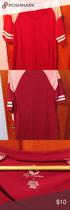 PJ Couture Sleep Shirt Cute sleep shirt, bought from Belks, only worn to try on, so still in great condition! Shirt is mainly burgundy with light pink on the sleeves and shoulders PJ Couture Intimates & Sleepwear Pajamas