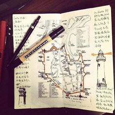 Traveler's Notebook inspiration Flickr. Pasted map in center w/drawing  notes on sides